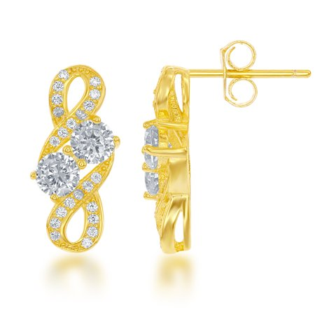 Beaux Bijoux Sterling Silver Gold-Plated Two-Stone Forever CZ Stud Earrings (Multiple colors available)