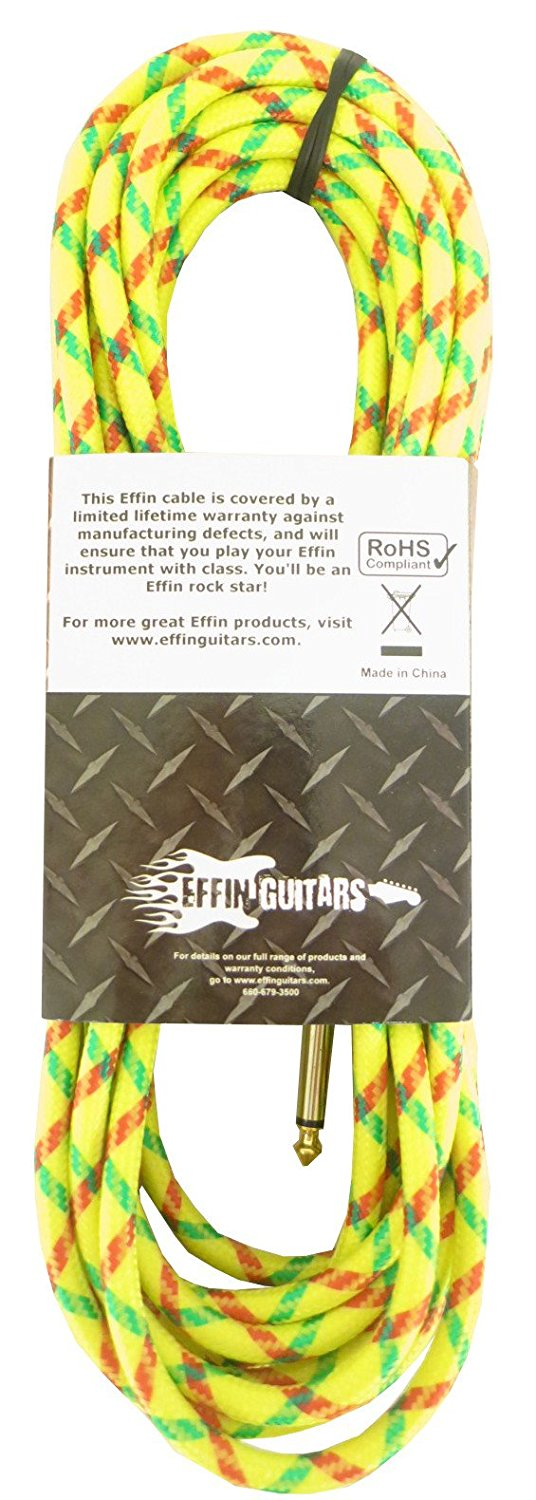 "Effin Guitars FNG20VTYL 20FT 1//4/"" Yellow Vintage Tweed Instrument Cable NEW"
