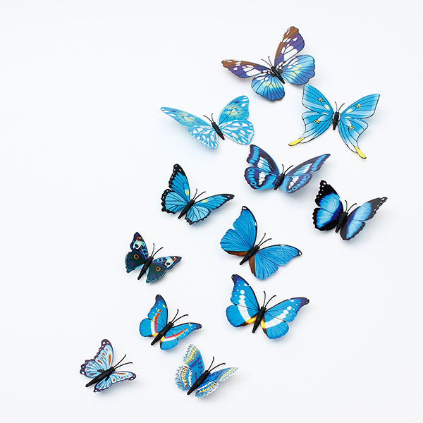 M.way 12 Pcs Removable Beautiful 3D Butterfly Wall Decals DIY Home Decorations Art Decor Wall Stickers & Murals for Girl Babys Bedroom TV Background Living Room