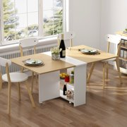 """Tribesigns Folding Dining Table, 6 Wheels Movable Dinner Table, Extendable Table with Cabinets, Home Kitchen Furniture Decor Lunch/Computer Desk Storage Rack, 55""""L x 31.5""""W, Chairs Not Include"""