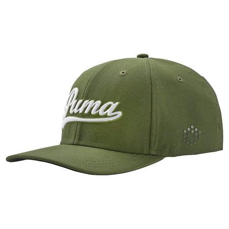 sale retailer b8170 51053 SCRIPT FITTED CAP Mens Headwear-Forest Night  White-Large Extra Large, 100%  Polyester By PUMA from USA