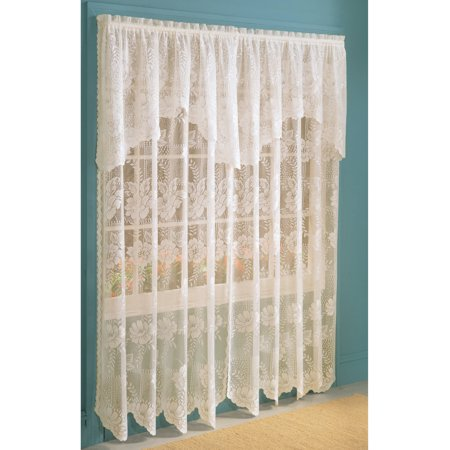 Anna Lace Curtain Panel With Attached Valance
