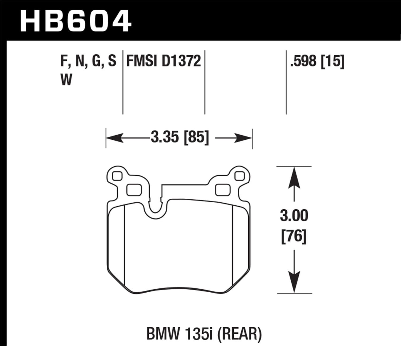 Hawk HPS Brake Pads Rear For HB604F.598 BMW 135I