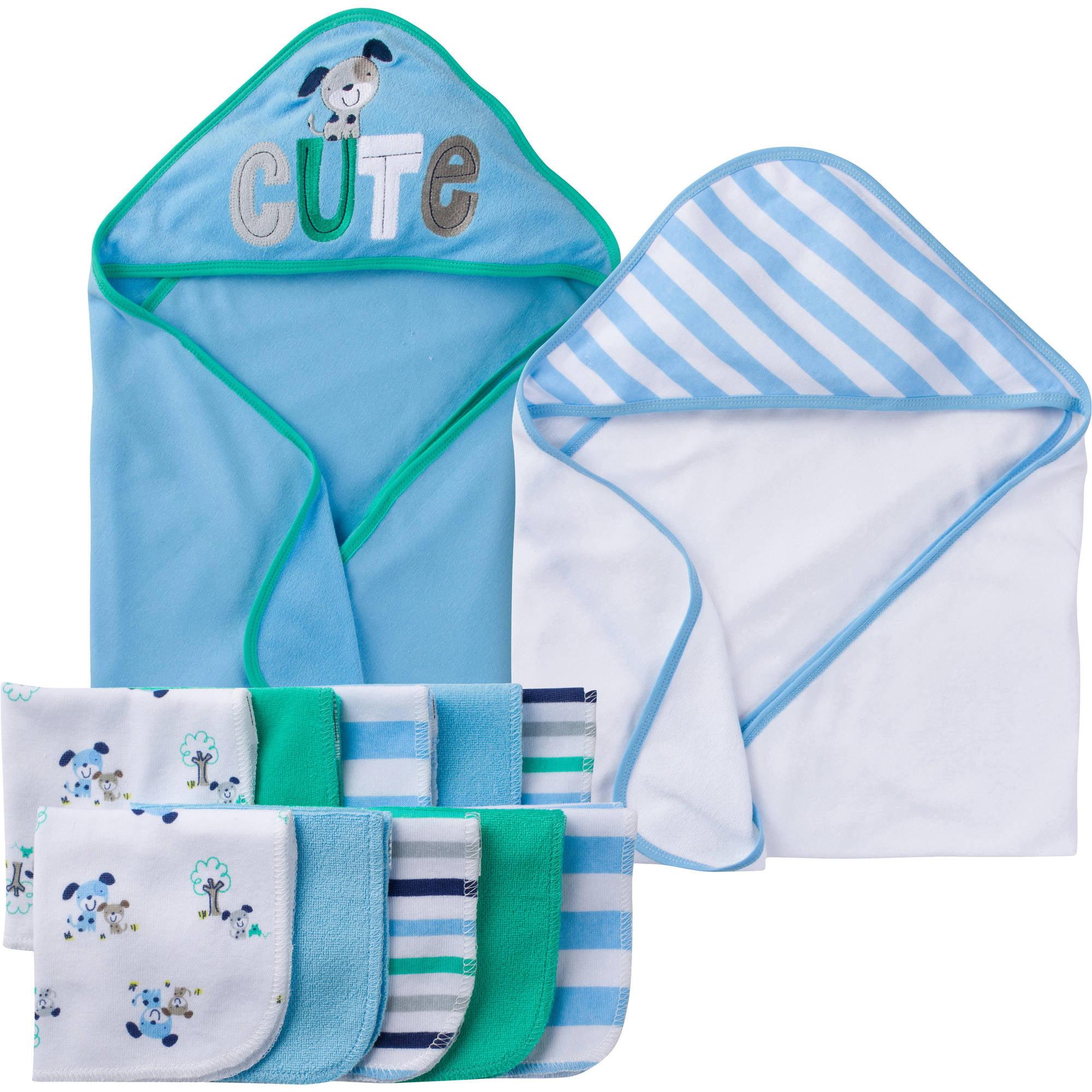 Gerber Newborn Baby Boy Towel and Washcloths Bath Gift Set, 12-Piece by Gerber