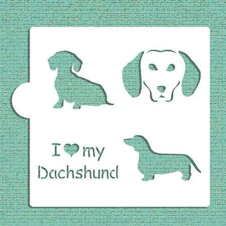 Designer Stencils I Love My Dachshund Cookie and Craft Stencil CM024 - Dachshund Halloween Stencil