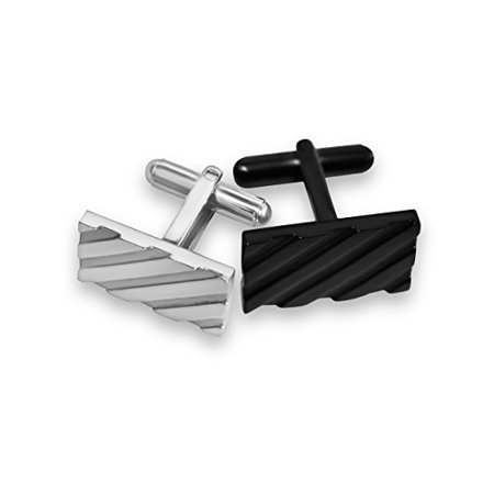Cufflinks for Mens Shirt -Stainless Steel Fashion Jewelry Set comes with case. Designer custom made stud cufflink with box holder, Perfect for groomsmen gifts, all men, and tie bars. Better than sterl