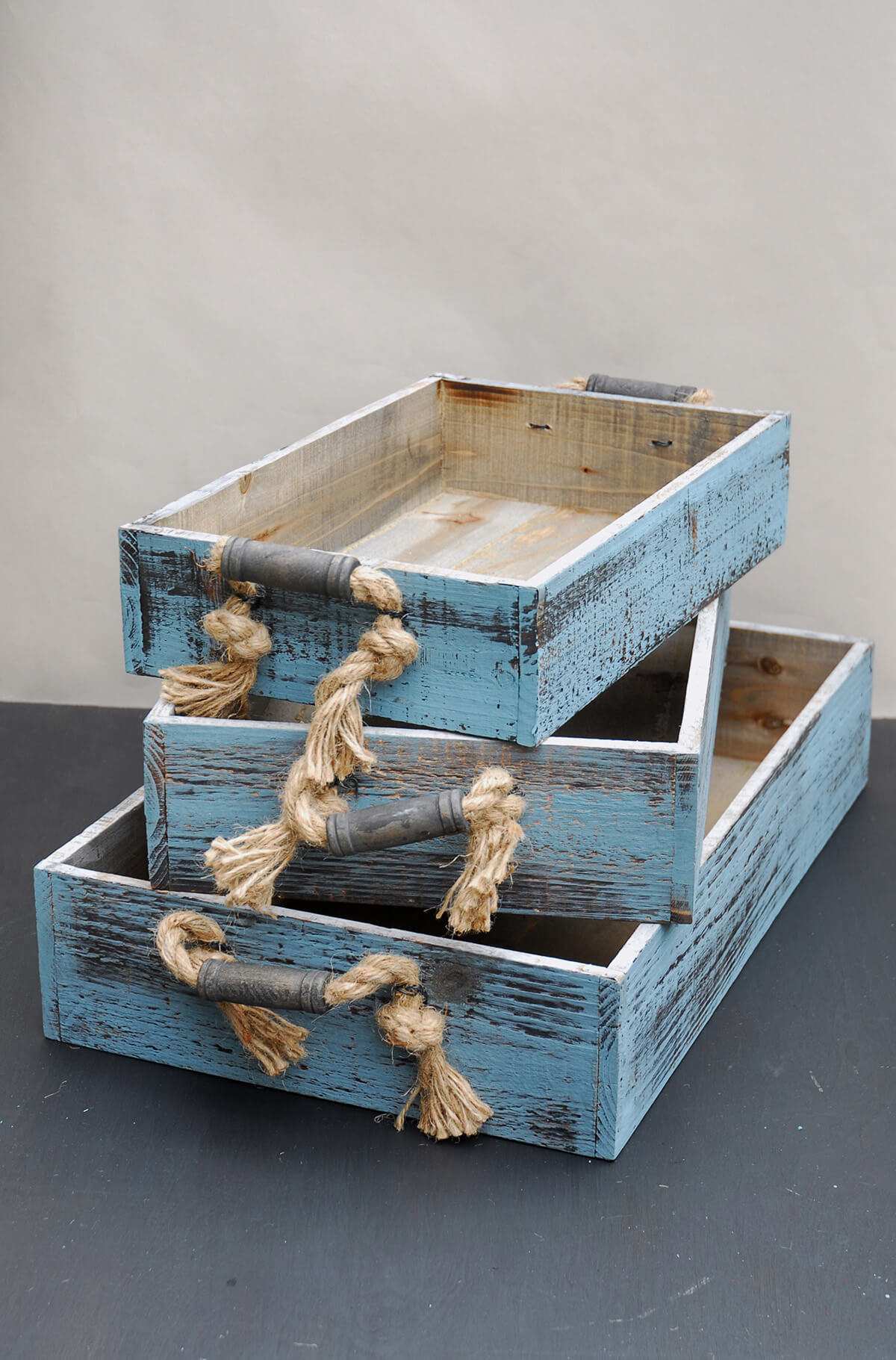 Wood Crate Trays with Rope Handles (Set of 3) - Walmart ...