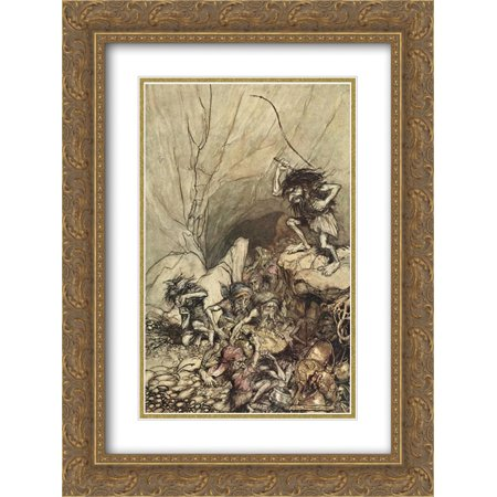 Arthur Rackham 2x Matted 18x24 Gold Ornate Framed Art Print 'Alberich drives in a band of Niblungs laden with gold and silver treasure'