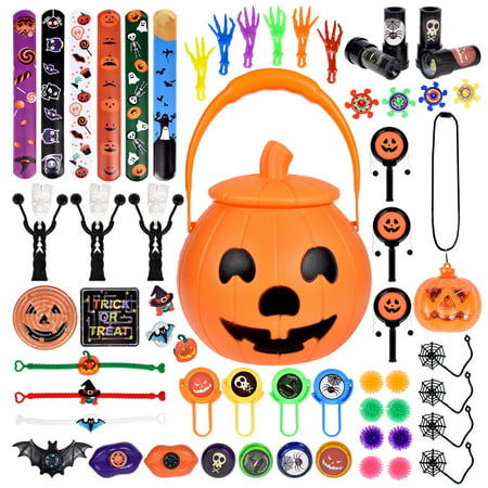 Halloween Goodie Bags (60 PCs Halloween Party Favors For Kids, Novelty Bulk Toys Assortment for Halloween Treats and Prizes, Goodie Bag Fillers)