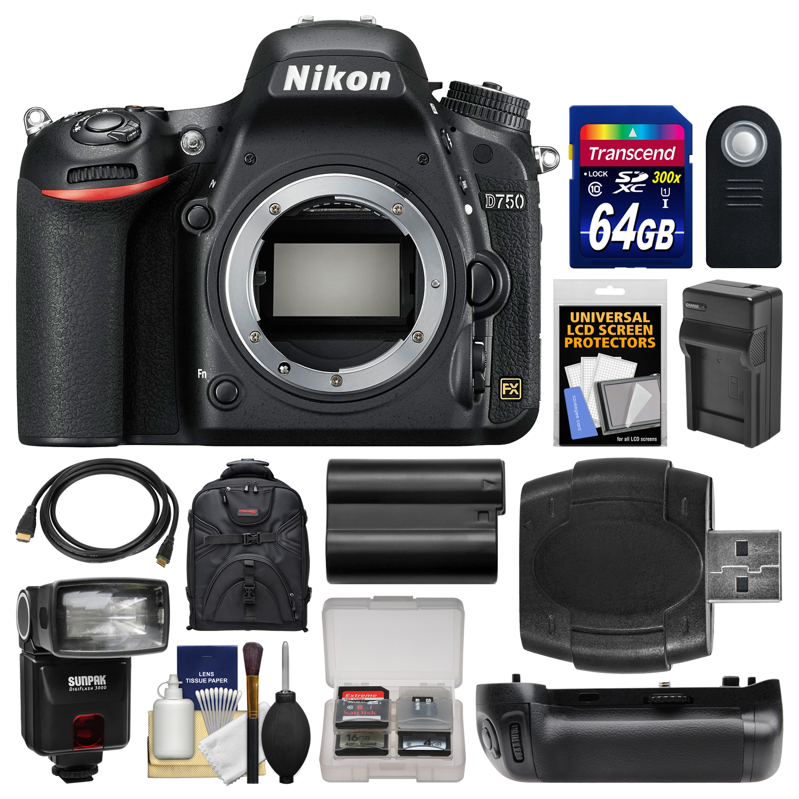 Nikon D750 Digital SLR Camera Body with 64GB Card + Case + Flash + Battery & Charger + Grip + Remote + Kit