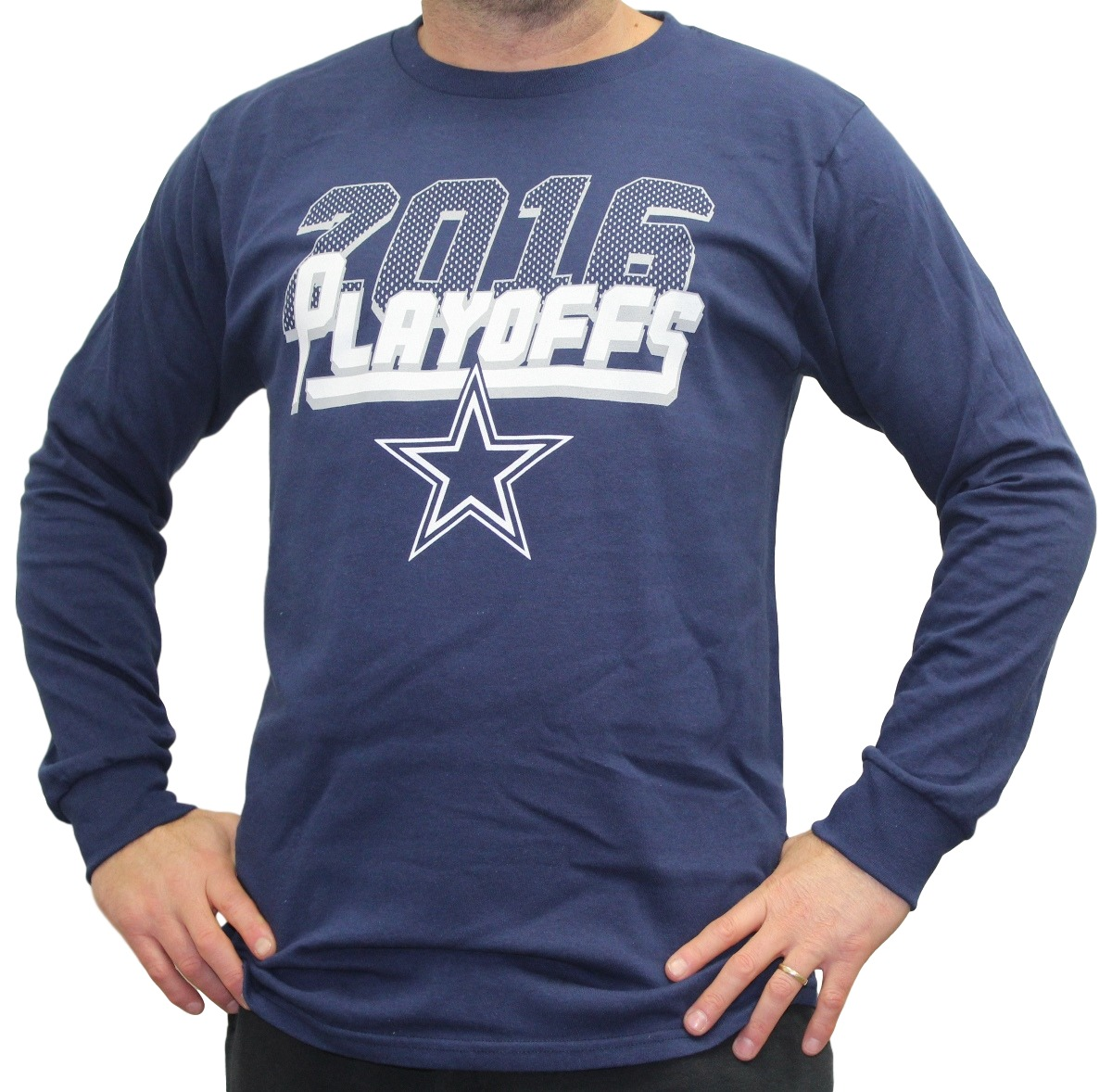 Dallas Cowboys Majestic 2016 NFL Playoffs Men's Long Sleeve Navy T-Shirt by Majestic