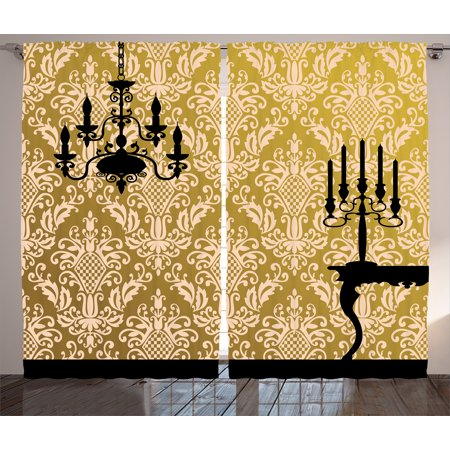 Damask Curtains 2 Panels Set, English Country House Damask Motif on ...