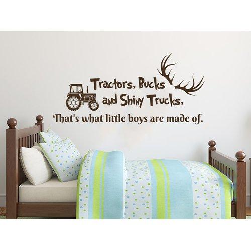 Zoomie Kids Howells Quote Tractors Bucks and Shiny Trucks Deer Antlers Car Wall Decal