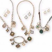 2-In-1 Convertible Necklace (17 )/Charm Bracelet & Earrings (Pierced) Set
