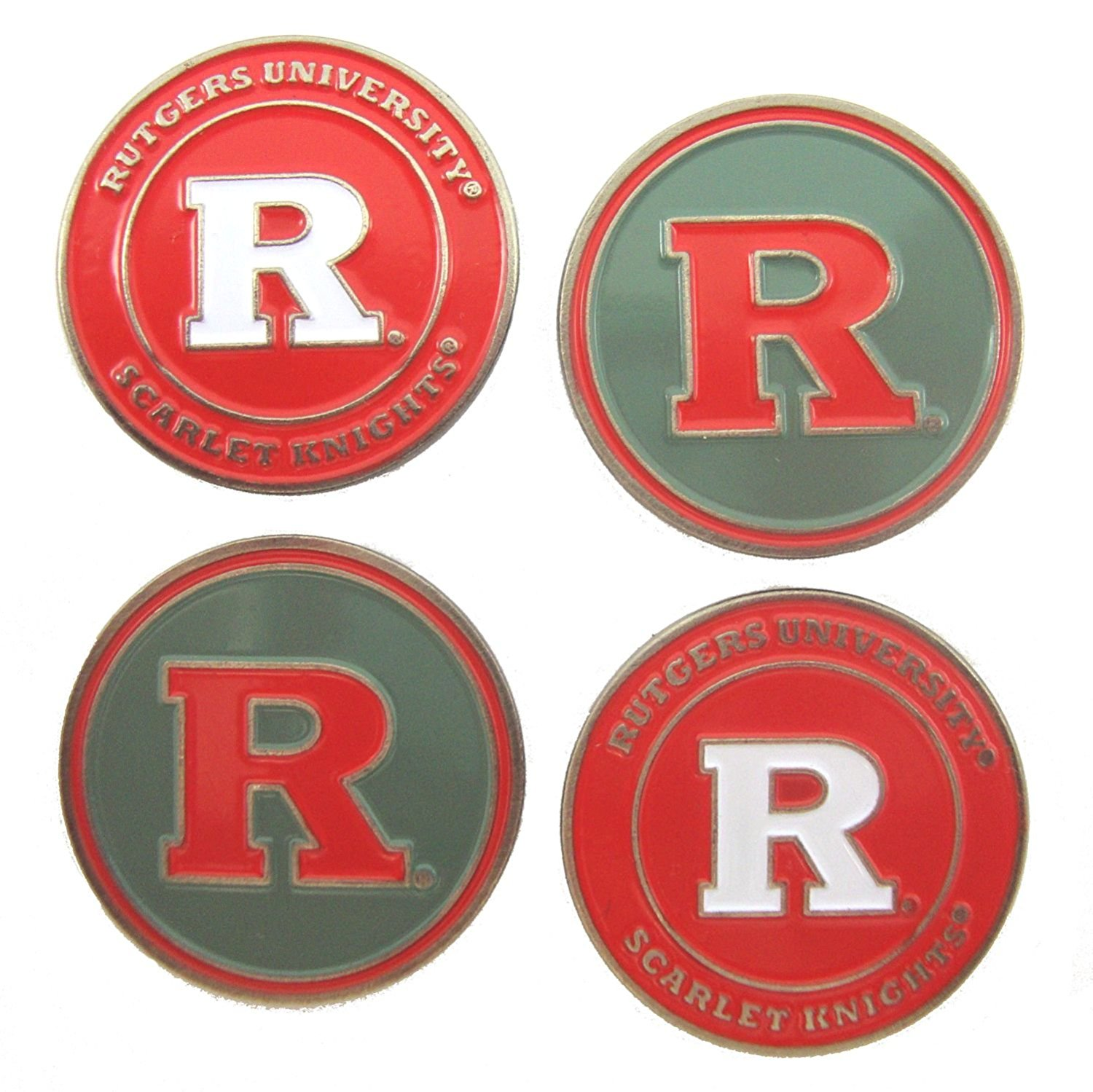 Rutgers Scarlet Knights Double Sided Golf Ball Markers (Set of 4), Rutgers University Golf Ball Markers By Waggle Pro Shop,USA