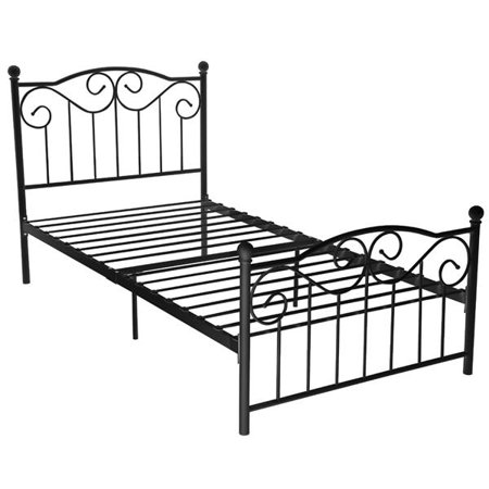 Yaheetech Steel Smart Base Twin Bed Frame w/Headboard & Footboard Vintage, Multiple (Twin Complete Bed)