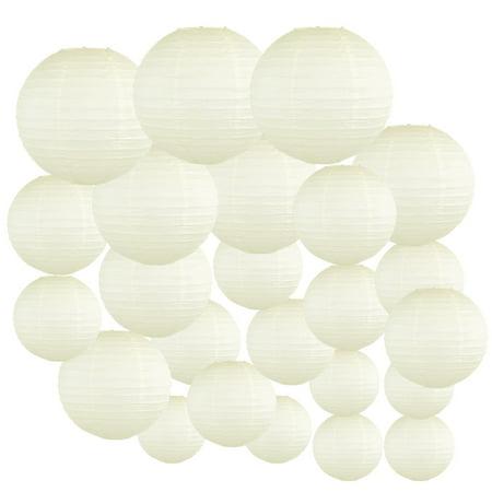 Ivory Decorative Round Chinese Paper Lanterns, Assorted Sizes, - Ivory Lanterns