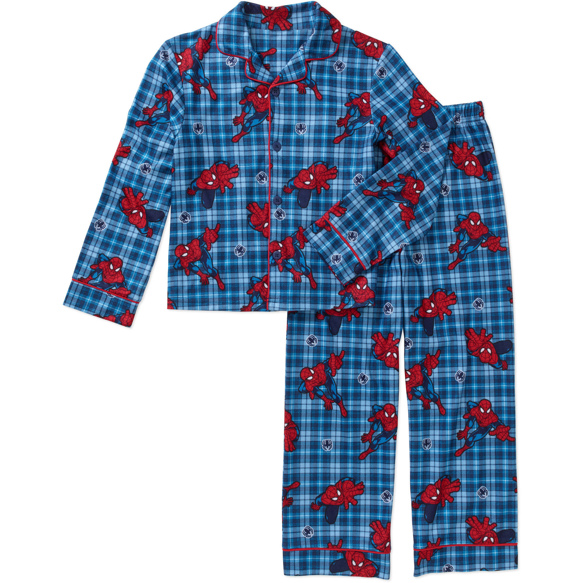 Boys' Licensed 2 Piece Poly Button Front Pajama Sleepwear Set, Available in 25 Characters