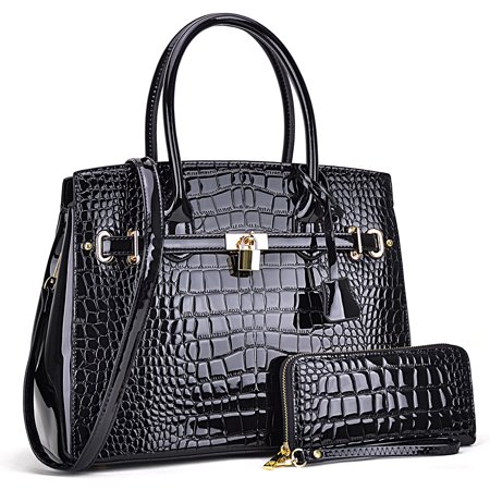 Croco Patent Leather Medium Satchel with padlock deco plus Matching Wallet Quilted Medium Black Purse