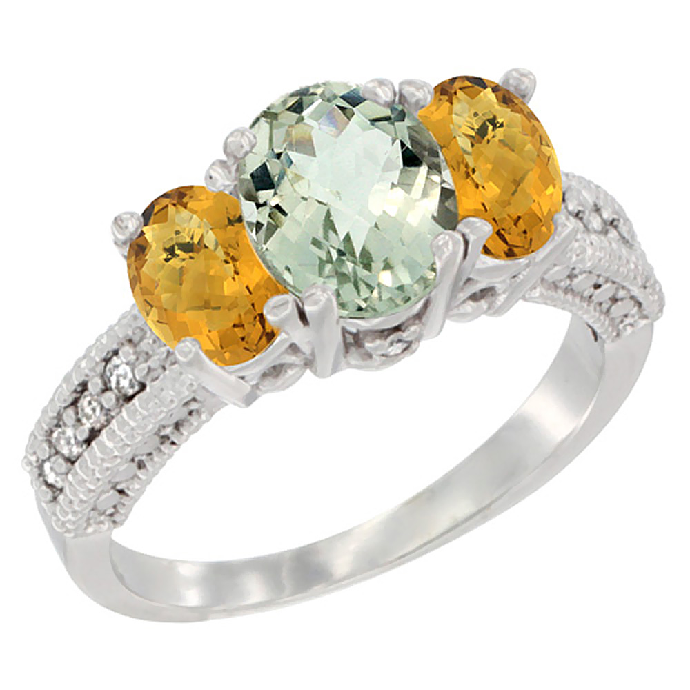 10K White Gold Diamond Natural Green Amethyst Ring Oval 3-stone with Whisky Quartz, sizes 5 - 10