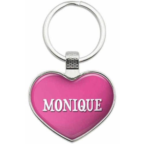 Monique - Names Female Metal Heart Keychain Key Chain Ring, Multiple Colors Available