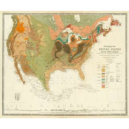 Geological map of the United States 1856 Poster Print by Henry ...