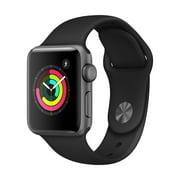 Refurbished Apple Watch Gen 3 Series 3 38mm Space Gray Aluminum - Black Sport Band MQKV2LL/A