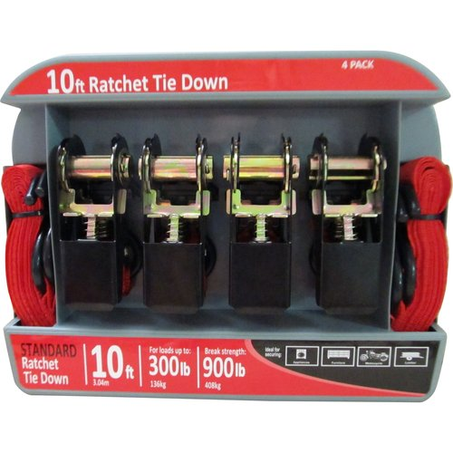 10' Ratchet Tie Down, Red, 900 lbs, 4-Pack