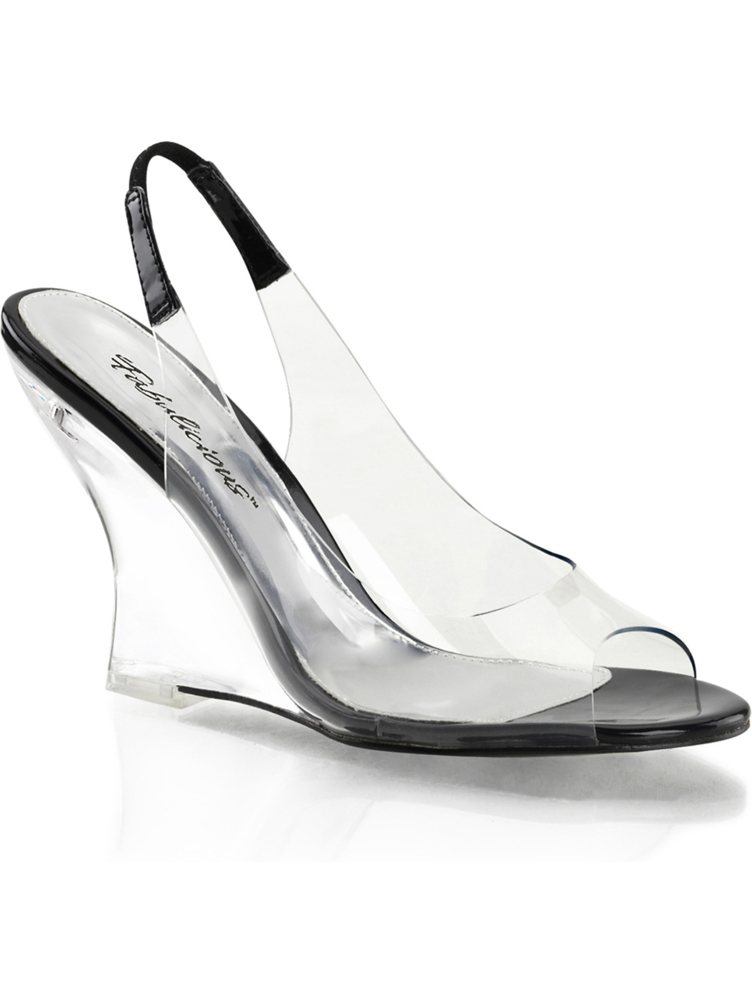 Womens Futuristic Black and Clear Low Wedge Sandal Shoe with 4'' Heels