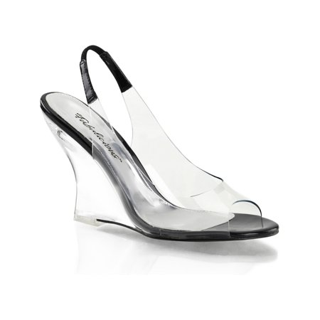 Womens Futuristic Black and Clear Low Wedge Sandal Shoe with 4''