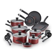 T-fal, Initiatives Nonstick 18 Pc. Set, Dishwasher Safe Cookware, Red, B165SI64,