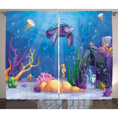 Turtle Curtains 2 Panels Set, Underwater World Cartoon Style Illustration Funny Fish Jellyfish Sea Horse, Window Drapes for Living Room Bedroom, 108W X 84L Inches, Purple Orange Aqua, by Ambesonne