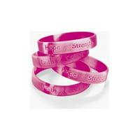 12 Ribbon Silicone Camouflage Bracelets Breast Cancer Awareness Wrist BandsPink