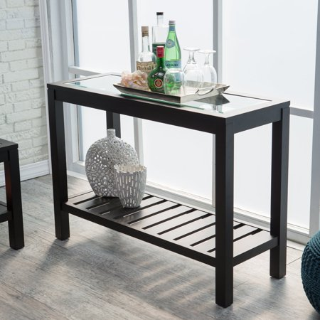 Sutton Glass Top Console Table with Slat Bottom Black Glass Console Table