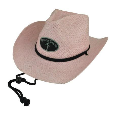 (Speedway Princess Women Ladies Woven Paper Pink Cowboy Drawstring Hat Fedora)