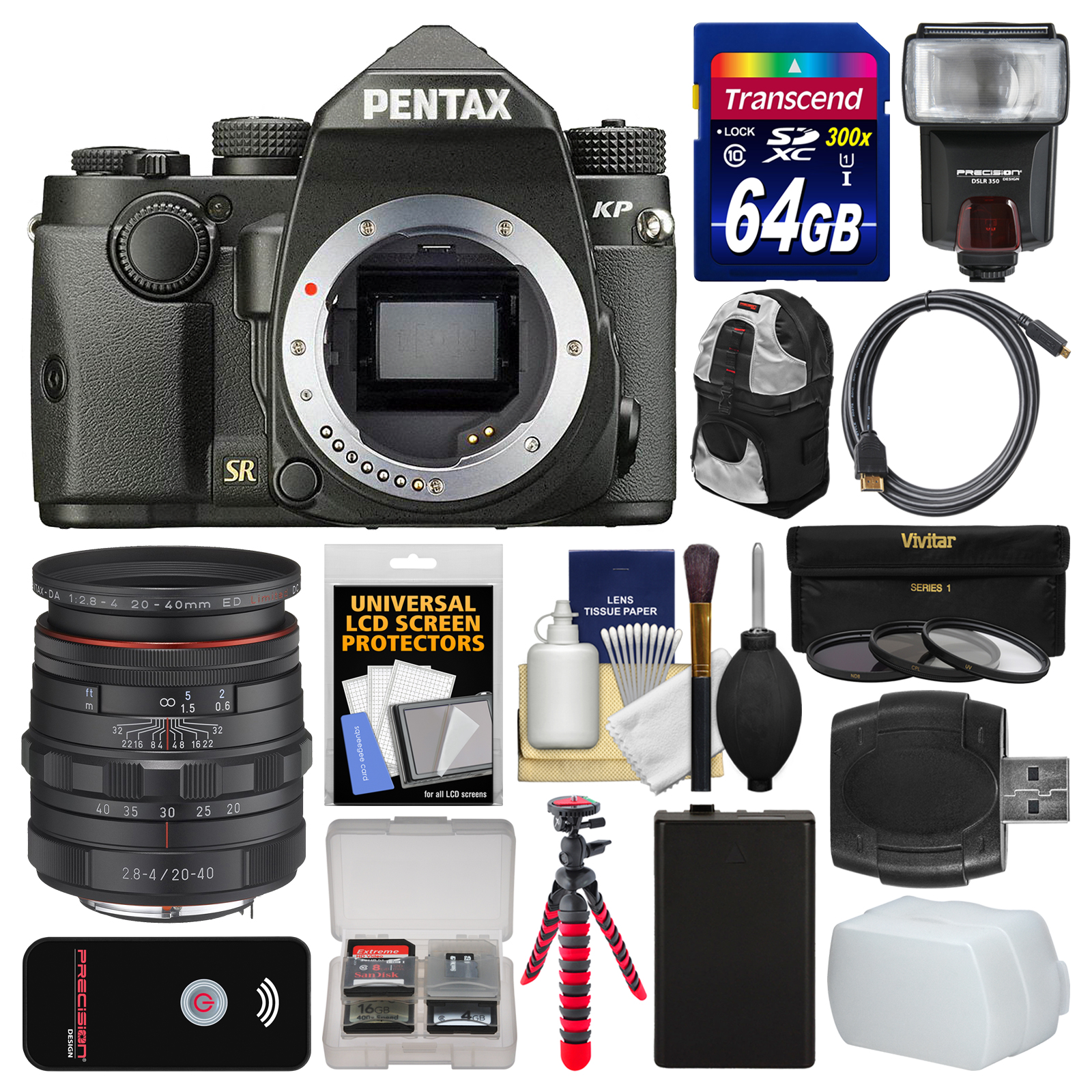 Pentax KP Wi-Fi Digital SLR Camera Body (Black) with 20-40mm Lens + 64GB Card + Backpack + Flash + Battery +... by Pentax