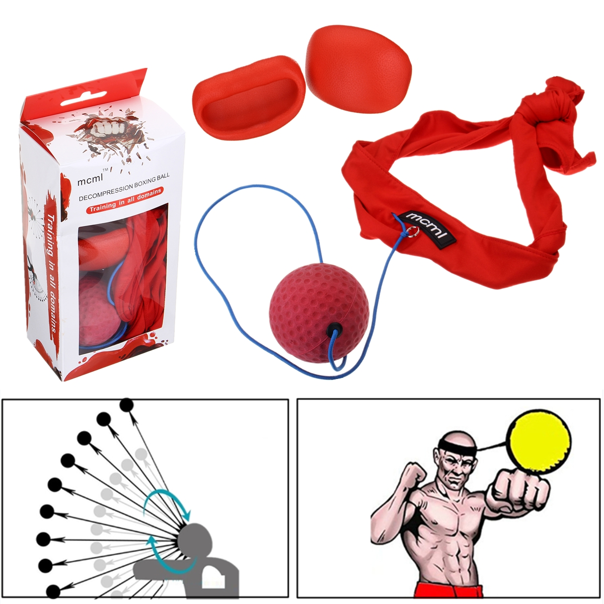 Fight Ball With Head Band Speedball Reflex Speed Training Boxing Punch Fitness Exercise Sports