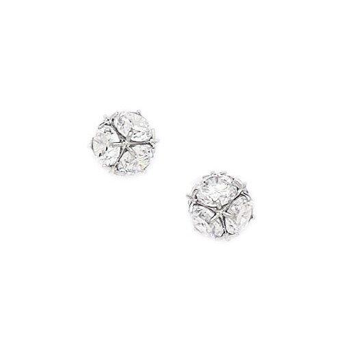 Jewelryweb Large Disco Ball Cubic Zirconia Stud Earrings