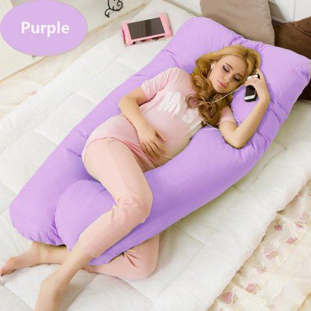 Pregnancy Pillow Maternity Belly Contoured Body U Shape Extra Comfort Cuddler , Oversize  (57 inch x 27.5 inch x 7.9 inch)-Purple