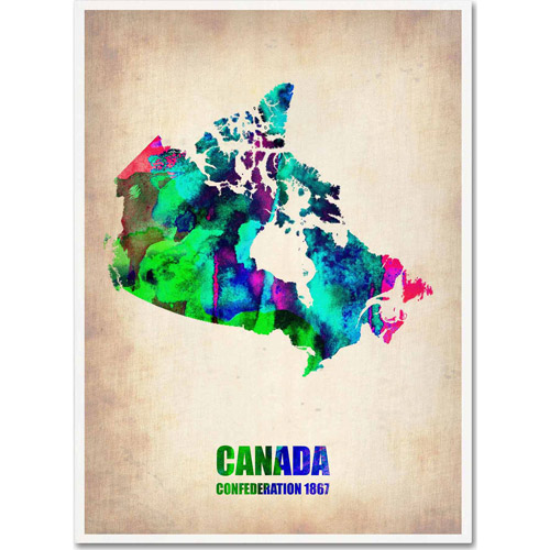 "Trademark Fine Art ""Canada Watercolor Map"" Canvas Art by Naxart"