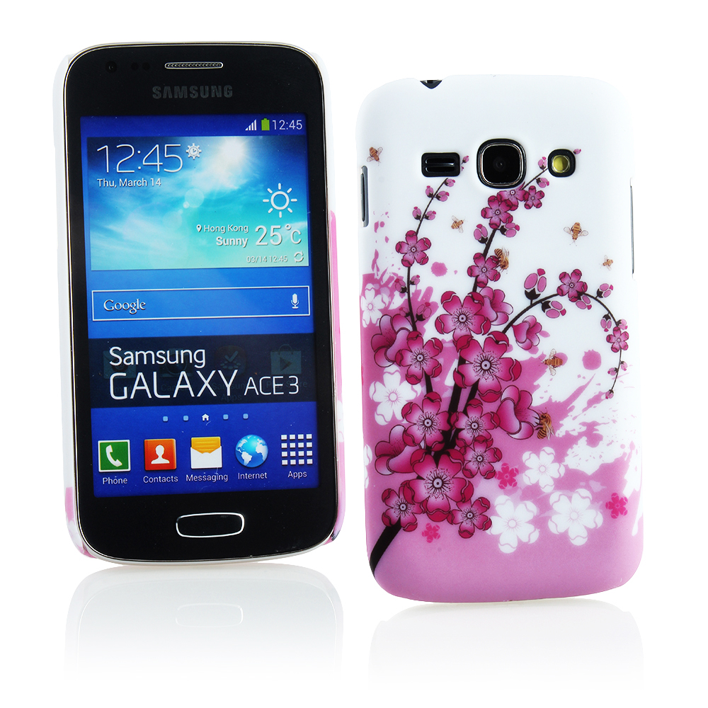 KMO Samsung Galaxy Ace 3 S7272 S7275 Cover Case Shock Absorbing, Thin Fit Hard Snap On Shell Protection - White / Pink Flowers