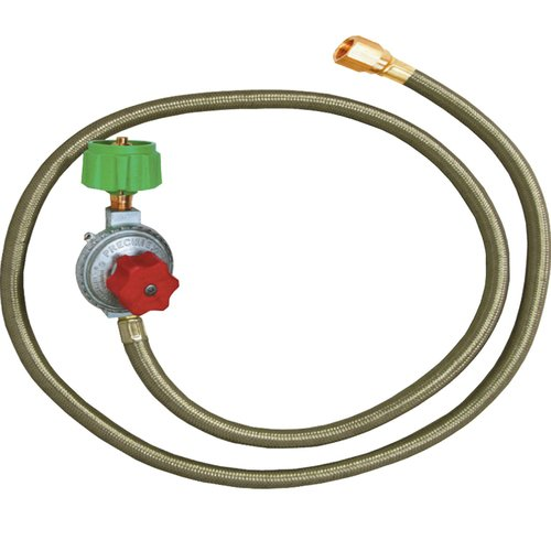 King Kooker #30502-HP Regulator and SS Hose with Male End