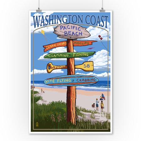 Pacific Beach, Washington - Washington Coast - Signpost Destinations - Lantern Press Artwork (9x12 Art Print, Wall Decor Travel Poster) - Beach Lanterns