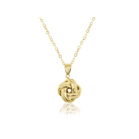 10K Yellow Gold Love Knot Pendant Necklace, 18