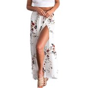 Floral Print Women Split Pants Elastic Waist Loose Chiffon Trousers