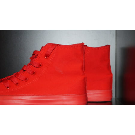 Canvas Print Sports Shoes Red Chuck Taylor Shoes Red Boots Stretched Canvas 10 x - Chuck Taylor Multi Eyelet