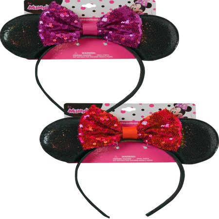 Minnie Mouse Headbands In Bulk (Disney Minnie Mouse Ears Sequin Headband with Glitter Pink Bow Hair)