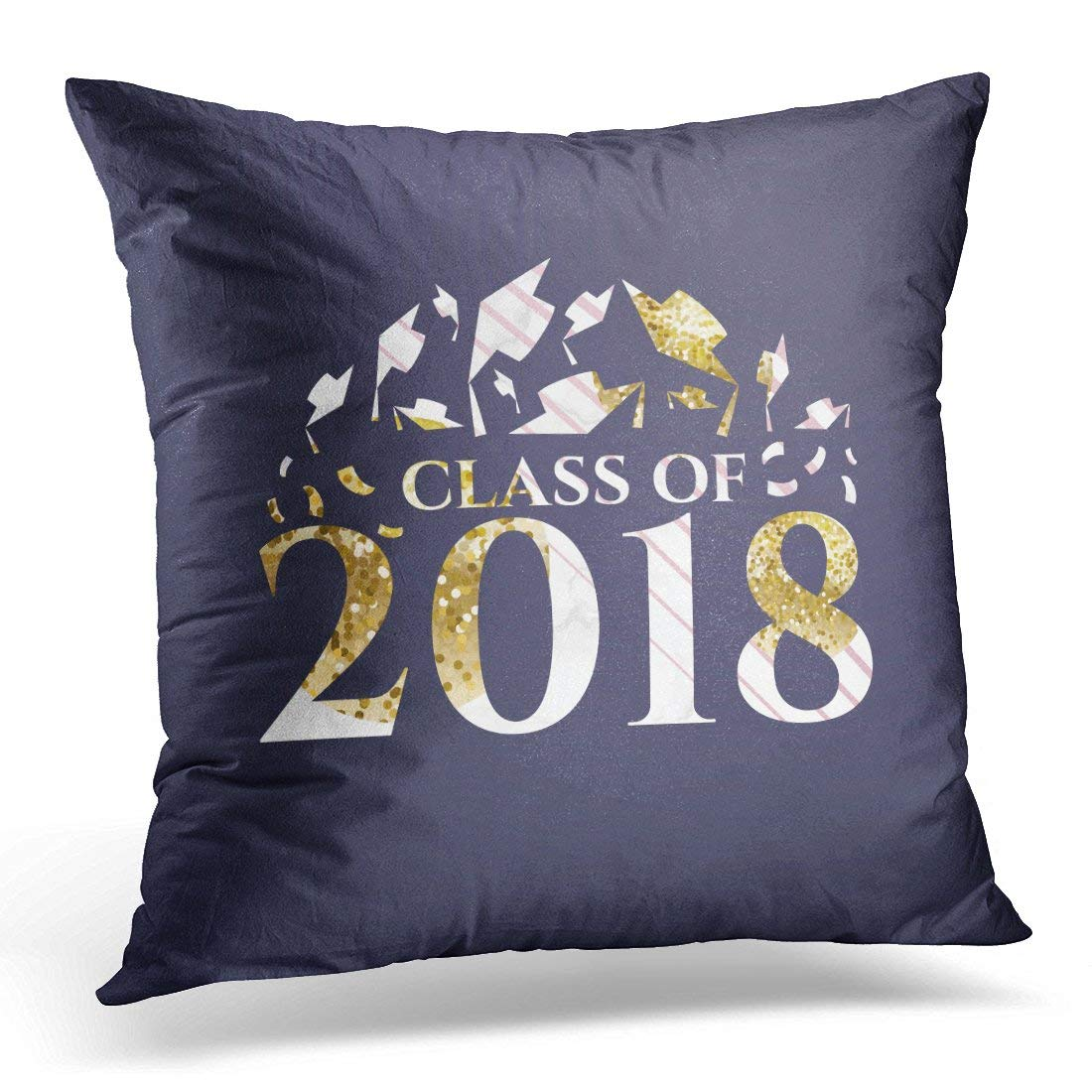 USART Abstract Congratulations on Graduation Class of 2018 Design Graphics for with Gold Flyers and Brochures Pillow Case Pillow Cover 20x20 inch