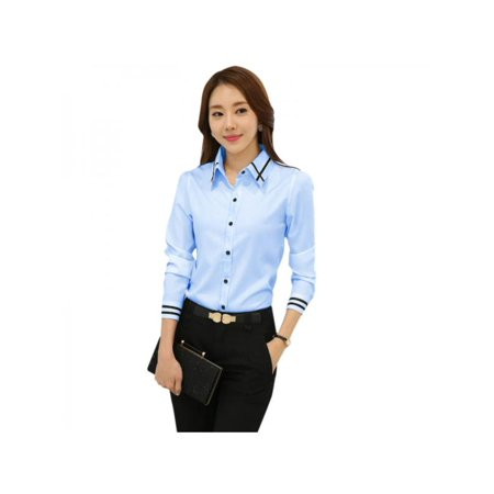 low priced quality modern techniques Funcee Plus Size Women Long Sleeve Button Down Shirt Office Lady Formal  Blouse