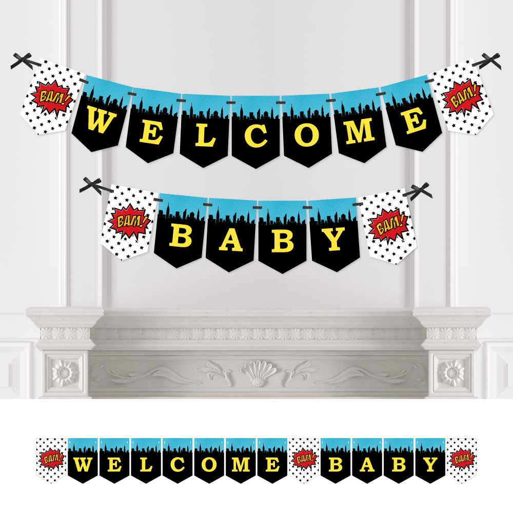 BAM! Superhero - Baby Shower Bunting Banner - Comic Book Party Decorations - Welcome Baby